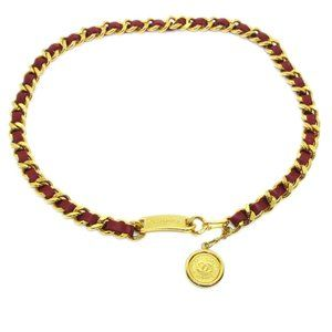 CHANEL CC Logos Medallion Gold Red Chain Belt Leat